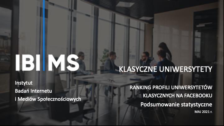 Uniwersytety na Facebooku – Raport IBIMS maj 2021